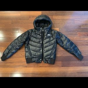 North Face feather bomber puffer jacket